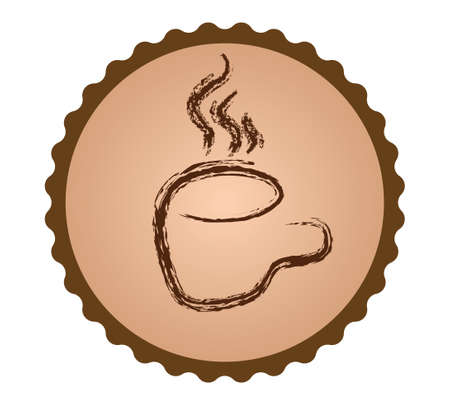 coffee grounds: Coffee badge. Coffee grounds cup illustration