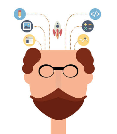 head start: Head of creative man with start up flat icons. Design and technology learning concept.