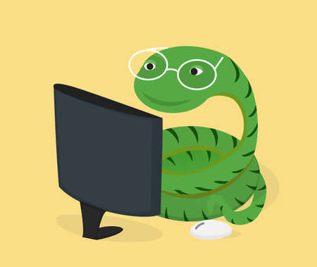 Snake in glasses at computer monitor. Python programming language concept.