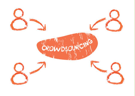 Crowdsourcing and fundraising concept. Orange users contributed to project Illustration