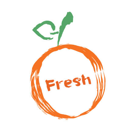 Fresh label and badge. Farm fresh orange and green seal design Illustration