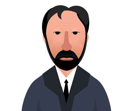 serious: Flat portrait of serious man. White man with beard  illustration Illustration