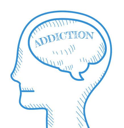 habit: Addiction concept. Text addiction inside human
