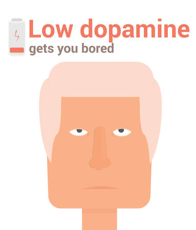 hair cover: Boring face low dopamine illustration Illustration