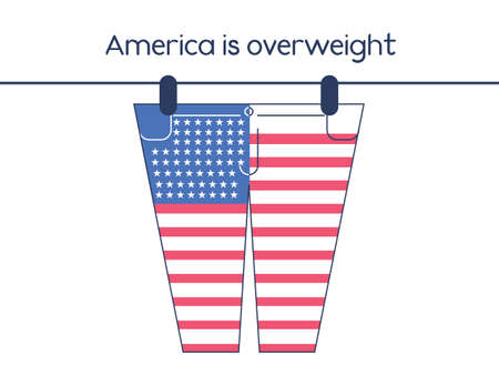 epidemy: Conceptual illustration of american obesity problem.