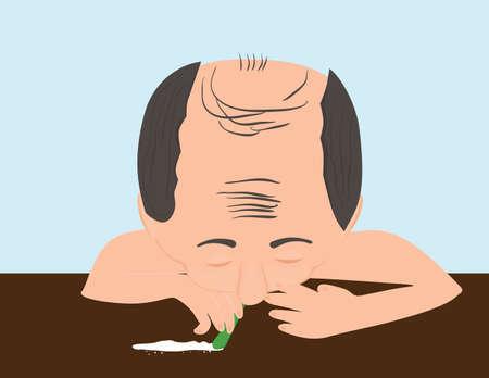 Drug addict. Man consuming cocaine Illustration
