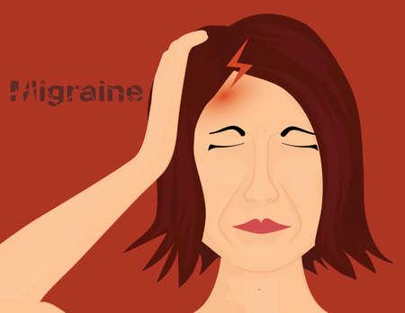severe: Woman suffering from severe headache.