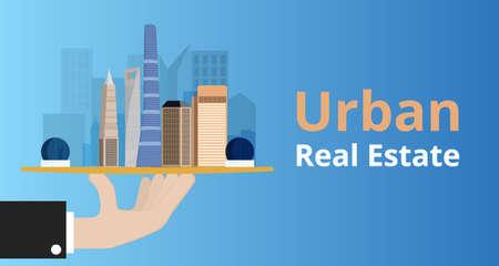 selling service: Urban real estate concept. Illustration