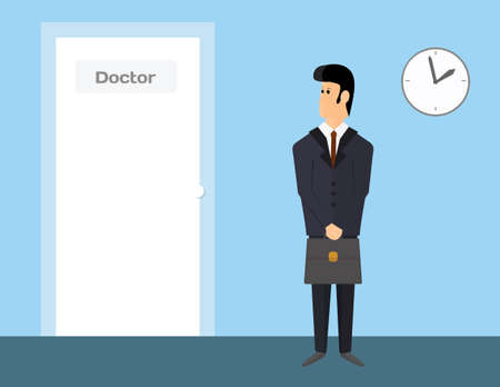 Pharmaceutical sales representative waiting to visit a doctor. Man in suit is waiting in doctor's door