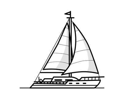 fisher: Boat outline illustration Illustration