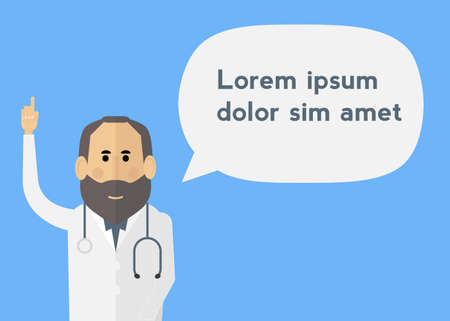 general practitioner: White male doctor with beard talking to patient Illustration