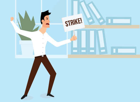trade union: Strike at office. White male employee calling a strike