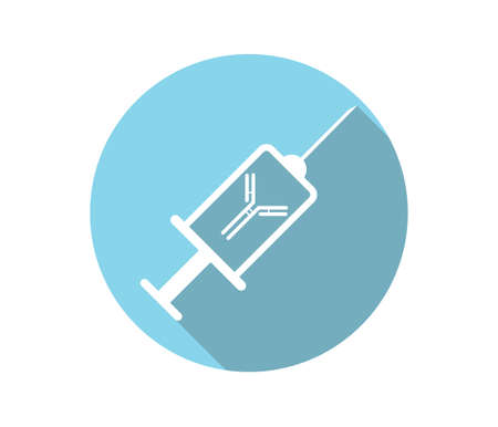 therapeutic: Therapeutic antibody icon. Outlined syringe with antibody illustration