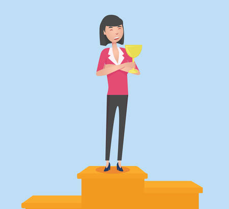 staying: Smiling woman with winning cup staying on pedestal Illustration
