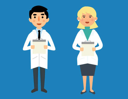 female doctor: Male and female doctor vector characters