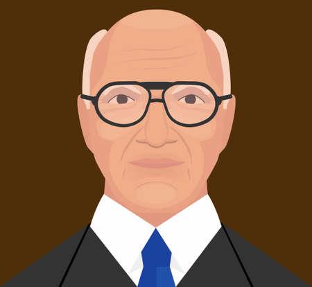 Milton Friedman vector illustration