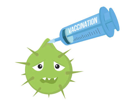 infection: Vaccination can fight infection illustration. Syringe pins bacteria