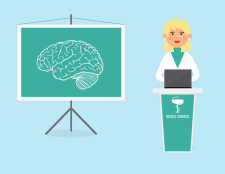 neurology: Female doctor talking about brain structure. Neurology conference conceptual illustration