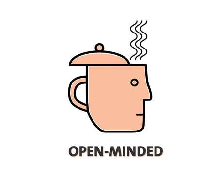 liberal: Open-minded design. Human head as tea cup illustration Illustration
