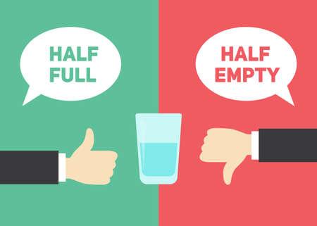 L'ottimismo vs concetto di pessimismo. Mezzo vuoto e mezzo bicchiere pieno d'acqua illustrazione Vettoriali