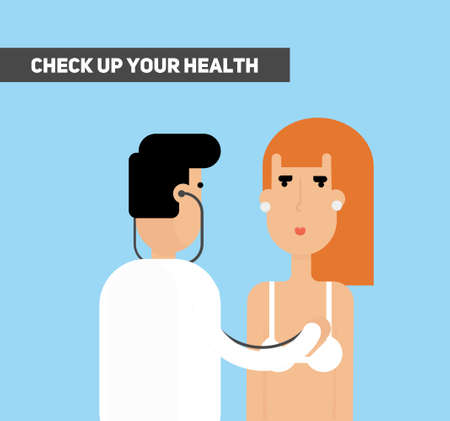 auscultation: Check up your health. Doctor listening woman lungs and heart with stethoscope