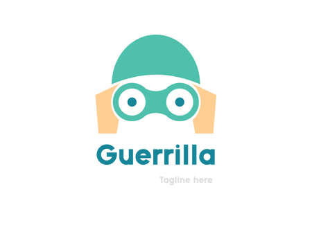 guerrilla: Partisan logo design. Guerrilla marketing vector logo