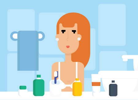 Pretty Caucasian red hair woman in bathroom vector. Bath interior flat design illustration