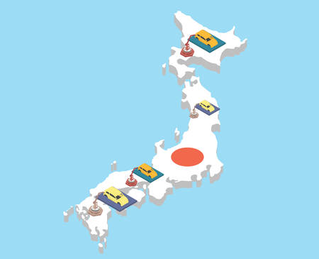assembling: Japanese car assembling industry. Japanese vehicle production vector illustration. Illustration