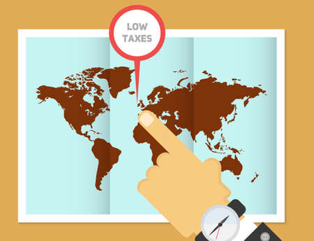 Low taxes for business. In search of offshore vector illustration. Hand of businessman pointing to the place of the map