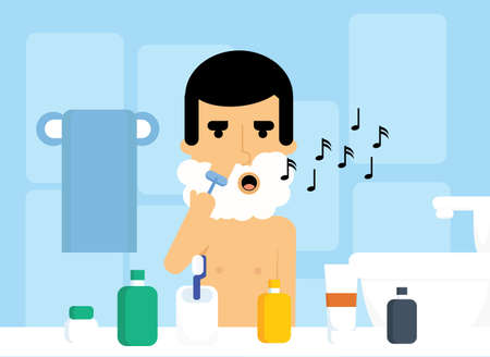 Young shaving Caucasian man is singing in bathroom. Male character with razor in bath vector illustration. Illustration