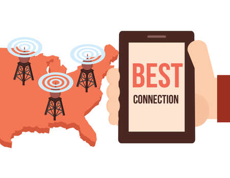 high speed: Best high speed mobile and internet  connection conceptual illustration. Isometric cell phone towers on vector map.