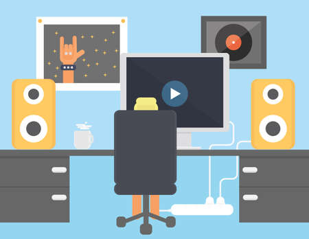 laud: Music lover interior flat design illustration. Boy watching video in  his room vector