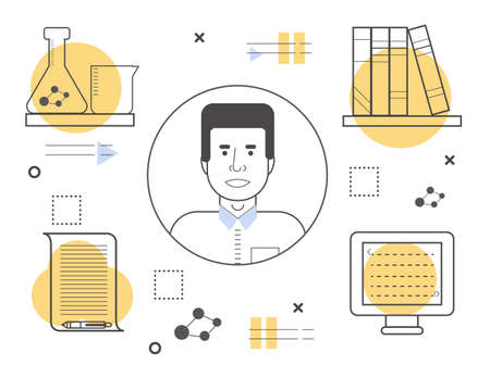 Male vector line avatar with writing, reading, coding and research icons. Creative person concept Illustration