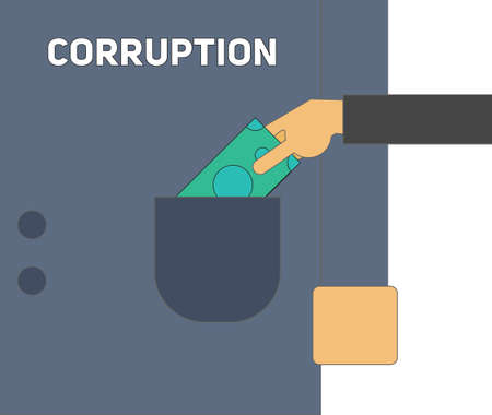corruption: Corruption concept. Hand puts banknote into pocket