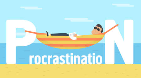 Procrastination conceptual illustration. Businessman lying on sun in hammock vector Illustration