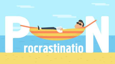 Procrastination conceptual illustration. Businessman lying on sun in hammock vector Illustration