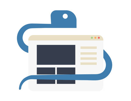 Python for web development conceptual vector illustration. Snake is coiled around browser icon