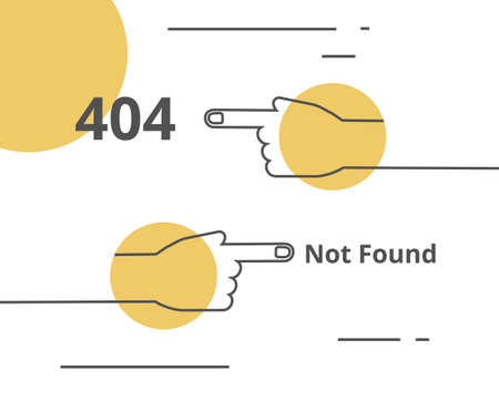 404 not found page design vector. Hands pointing in different ways line illustration with yellow circles