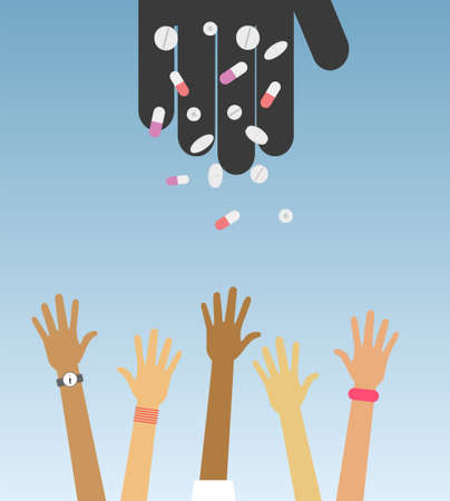 adolescent: Black hand of drug dealer throw pills to people. Adolescent drug abuse conceptual illustration