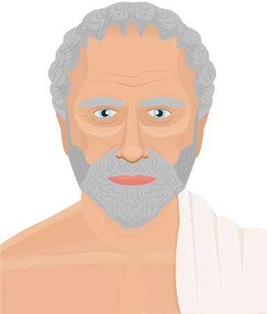 Greek philosopher vector portrait. Ancient man illustration