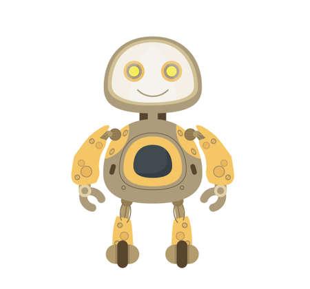 Smiling golden robot vector. Boy android vector.