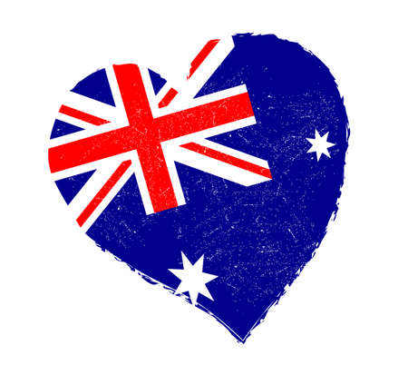 grunge heart: Australia flag in grunge heart shape. Illustration