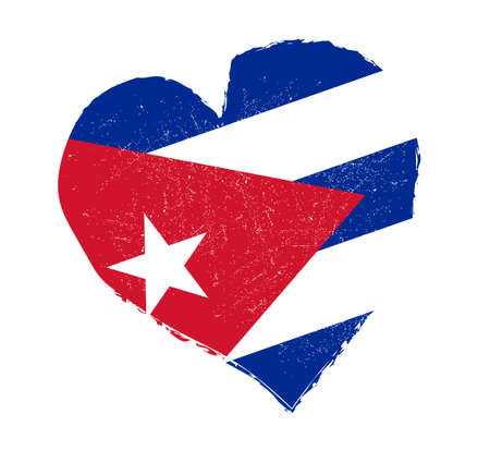 grunge heart: Cuba flag in grunge heart shape.