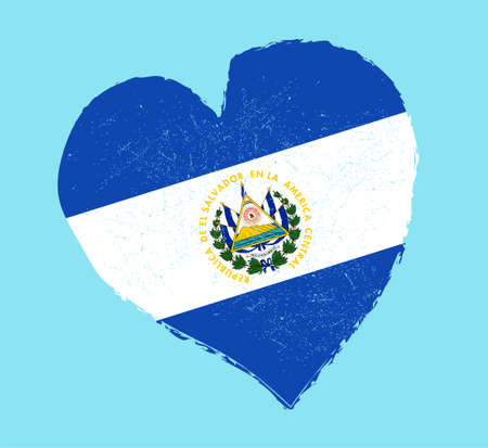 grunge heart: El Salvador flag in grunge heart shape.