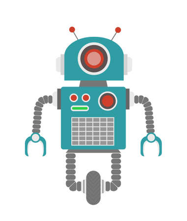 retro: Green retro robot illustration.