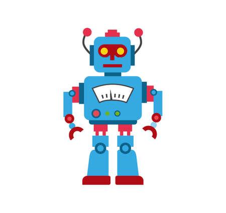 Blue toy robot illustration.