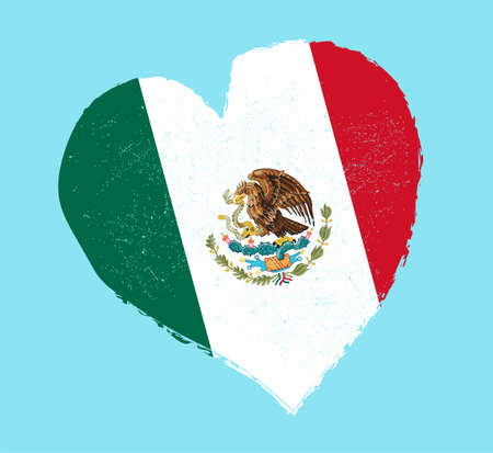 grunge heart: Mexico flag in grunge heart shape. Illustration
