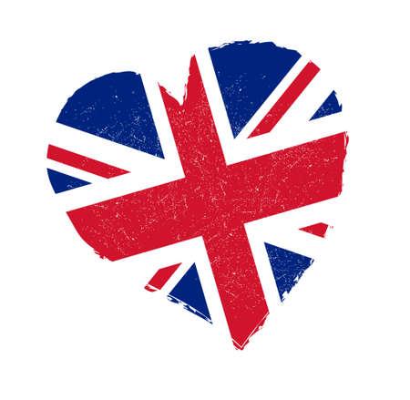 United Kingdom flag in grunge heart shape.