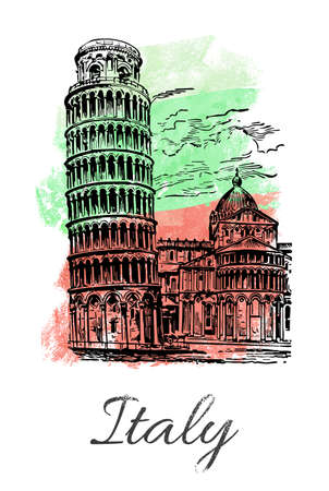 Leaning Tower of Pisa on Italian flag watercolor background. Italy tourism card design