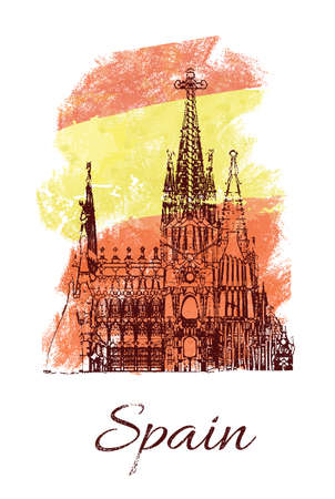 Sagrada Familia on Spanish flag watercolor background. Spain tourism card design